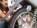 Baby Stuck In Motorcycle Rim
