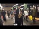 Black Guy With Sax Playing Jewish And Israeli Songs Music At NY Subway
