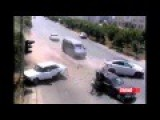 BMW Car Hit Two Cars From Behind