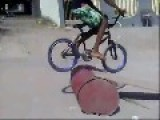 Biker F's Himself Up With Barrel Jump Fail