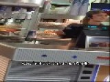 Burger King Worker Shows Her Boobs
