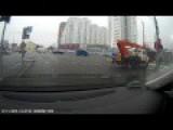 Boom Truck Stalks Pedestrians