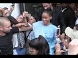 Blue Crush Rihanna Pretty In Periwinkle Skirt Suit In Paris
