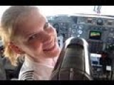 Beautidul Blonde Woman Pilot Flying A Gulfstream Jet. Takeoff, Alternator Failure & Landing