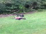 Boy Flies Over Go Kart Handlebars