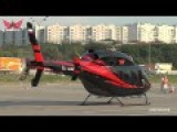 Beautiful Red-Black Helicopter Takeoff Blown
