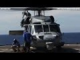 Blue Ridge Class Command Ship USS MOUNT WHITNEY - Sailors Preparing Black Hawk For Mission