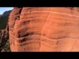 Bike Daredevil Riding Vertical Cliff Face In Arizona