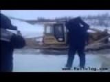 Bulldozer Falls Through Ice FAIL