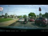 Buick Cuts Off Motorcyclist... Motorcyclist Later Road Rages And Starts Whipping The Buick