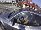 Biker Accidentally Scares The Crap Out Of Red Light Runner
