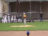 Baseball Players Collide Into Each Other