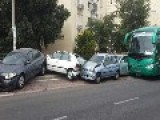 Bus Driver Lost Control And Damaged 13 Cars
