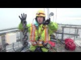 Clearing Snow From The Cables On The Port Mann Bridge, British Columbia