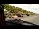 Column Of Russian Military Vehicles Near The Ukrainian Border
