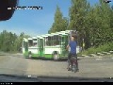 Cyclist Somehow Does Not See Truck