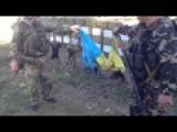 Captured Ukrainian T-64 Tanks And Burning Ukrainian Flag Near Starobesheve