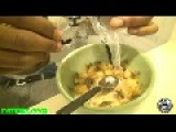 CRICKET CEREAL: Crazy Guy Sitting On The Toliet Eating A Bowl Of Live Crickets With Milk!