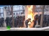 Cops On Fire As Molotov Cocktails Flare, Flash And Bang Over Kiev JAN. 22 2014