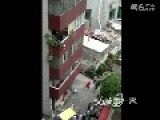 Child Hanging From Building 5th Floor Mid Air Rescue