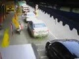 CCTV Footage Of Car Crashing In Parked Cars