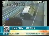 Chinese Driver Struggling - And Failing - To Keep His Truck From Tipping