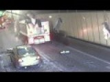 CCTV Of A Truck Hitting A Tunnel Roof