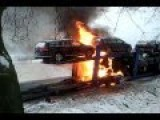 Car Carrier Trailer Fire