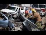 Car Eats Guardrail On Mexico 15 Road