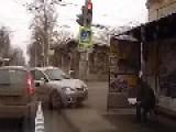 Car Crashes Into Bus Stop