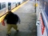 Crazed Man And SEPTA Transit Police Officer Fight On Station Platform