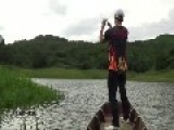 Crazy Fisherman Jumps In River After Rod And Fish