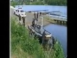 Cops Attempt To Launch A Inflatable Boat