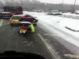 CRAZY MOPED COMMUTER TAKES BIKE OUT IN HEAVY SNOW!!