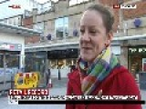 Chav Argument Breaks Out In Background During A Sky News Live Outside Broadcast Vox Pop Interview