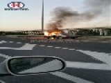 Car Is On Fire Next To Tel-Aviv Airport