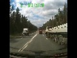 Car Dodges Oncoming Taxi On Highway,truck Didn´t Have A Chance