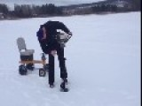 Clever Ice Auger Engine Turned Into Lake Racer! Funny Vid!