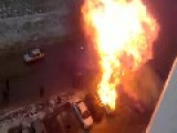 Car In Rostov-on-Don Catches On Fire And Explodes