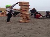 Celebrating A Birthday With A Giant Game Of Jenga