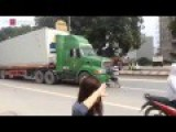 Crazy Man Blocking Truck And Bus On Road