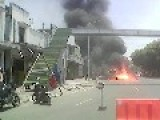 Car On Fire Captured In Jember City In The Region Of Indonesia