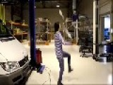 Cute Girl Gets Dirty Juggling In A Warehouse