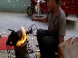 Chinese Street Vendor Making Popcorn The Old School Way