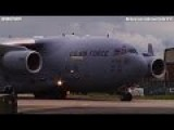 CLOSE UP Of MONSTER C-17 Globemaster III US AIR FORCE Landing - CODE 1079