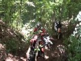 Dirt Bikers Pile Up On Difficult Hill