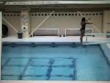 Diver Smacks Legs On Diving Board