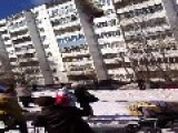 Desperate Man Jumping From His Burning Apartment Building