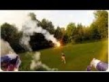 Drone Shooting Roman Candles At Guy