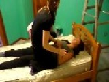 Dog Joins Girls In Bed For Three-Some Fun!